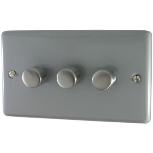 G&H CLG13 Standard Plate Light Grey 3 Gang 1 or 2 Way 40-400W Dimmer Switch